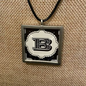 Reversible Initial Necklace, Black Leather Cord